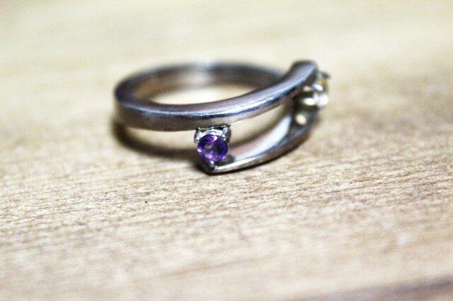 紫水晶と黄水晶のsilverリング 1点ものの画像1枚目
