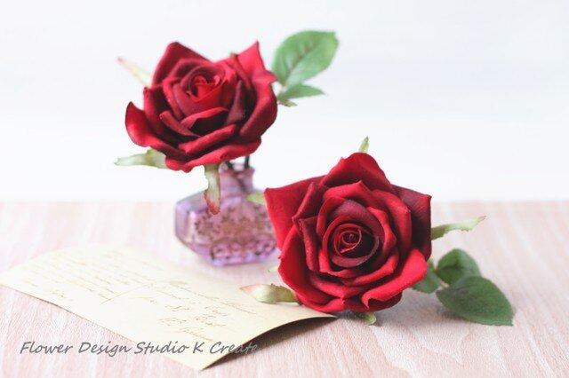 再販:フラメンコ(フローレス)・発表会に♡赤い薔薇のヘッドドレス(薔薇&葉)の画像1枚目
