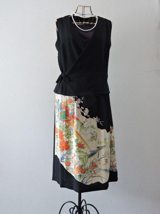 着物リメイク:留袖のカシュクールセットアップ(鳥と花)の画像1枚目