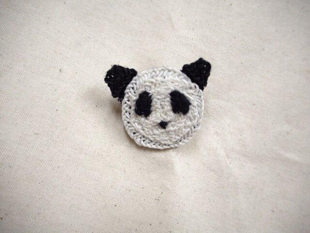 パンダさんバッヂ(白/黒)小の画像1枚目