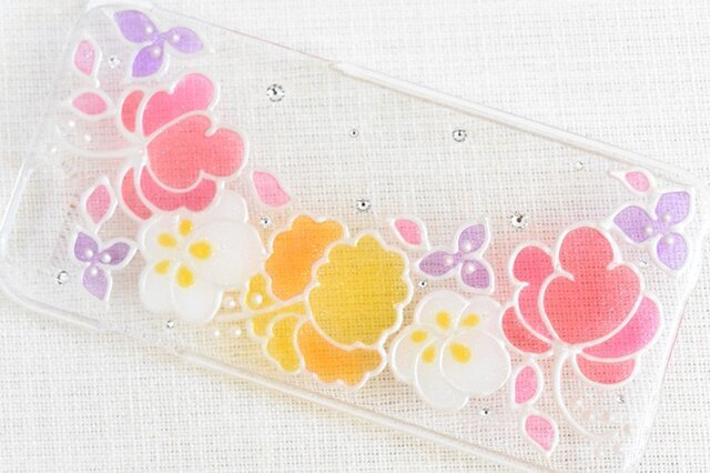 ☆iPhone・他機種作成可☆ ステンドグラス風ダイヤモンドクリスタルケース*Tropical Flower*の画像1枚目