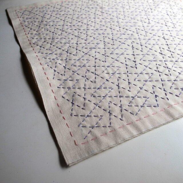 刺し子 花ふきん つづき山  purpleの画像1枚目