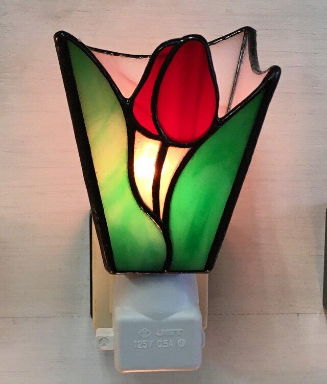 「おやすみランプ・チューリップ・赤色」ステンドグラス・照明・春・フットランプの画像1枚目