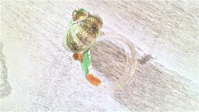 蓄光☆ウニとシーグラスの指輪の画像1枚目