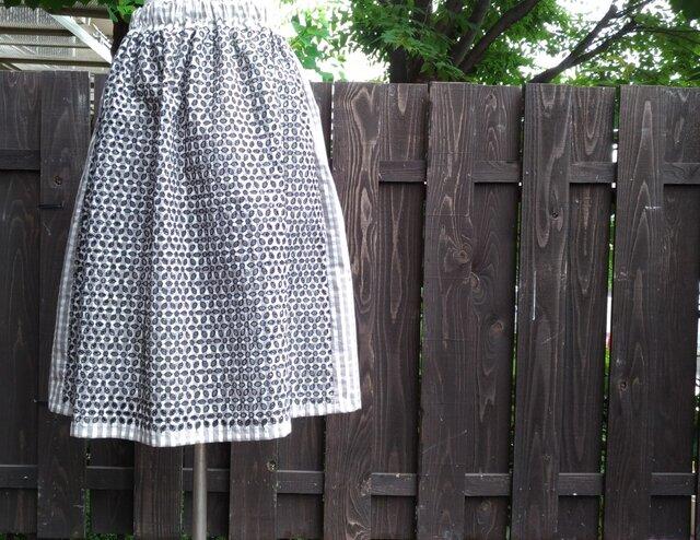 I様オーダー品 ブロックチェック綿レース ギャザースカート 裏付きの画像1枚目