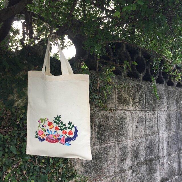"""貝がら柄 手染め エコバッグ Bingata my bag """"Shellfish""""の画像1枚目"""