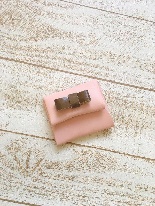 ベビーピンクが可愛い 本革 レザー 小物入れ コインケース オークリボンの画像1枚目