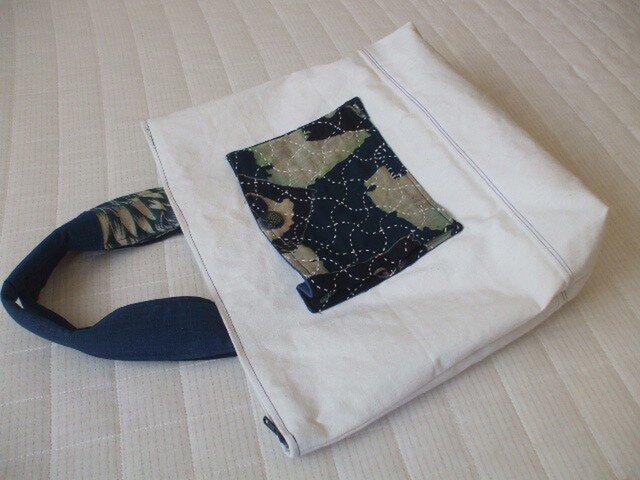 在庫処分 刺し子古布藍型染と帯芯のトートバック 木綿の画像1枚目