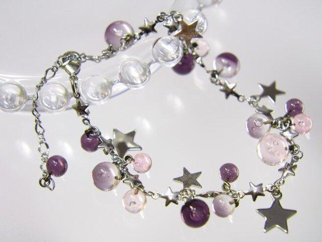 ★ブレスレット  紫×ピンクの画像1枚目