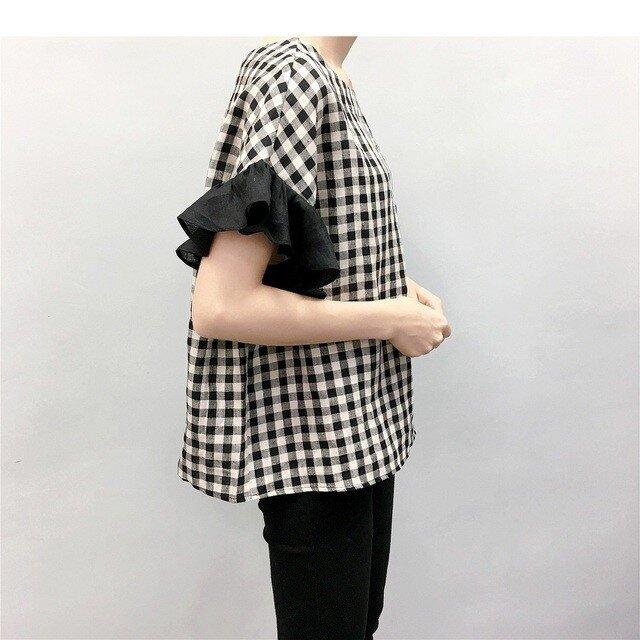 en-enリネン・ブロック黒ベージュ・バイカラーフリルお袖(新作、人気、麻)の画像1枚目