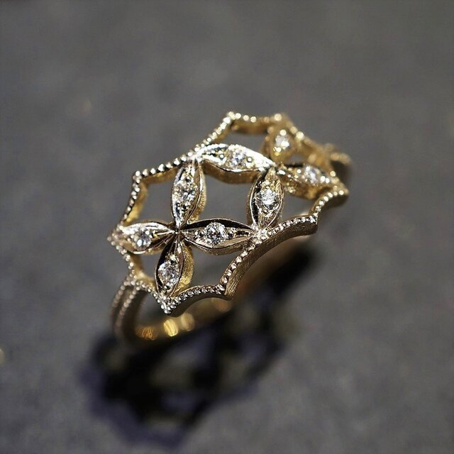 4 petal flower ring Ⅱ{R070K10YG}の画像1枚目
