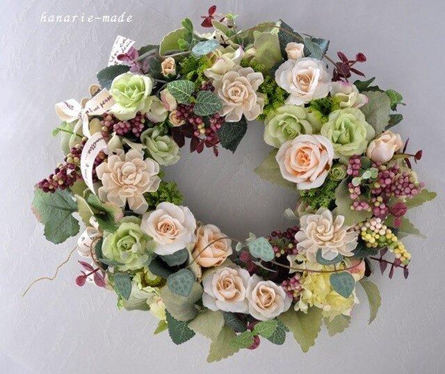 バラのささやき :アメジスト色の実とハートカズラの蔓をそえての画像1枚目