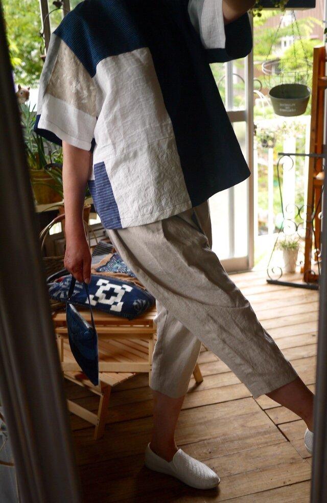 結城紬と久留米絣とリネンのTシャツブラウスの画像1枚目