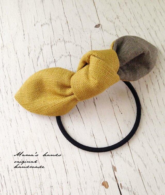 おしゃれな リネン カーキx 黄色 リボン ヘアゴム♪の画像1枚目