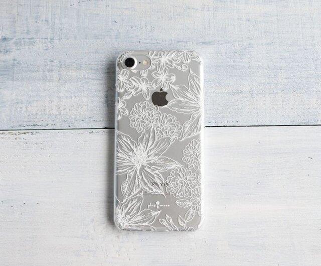 iPhoneクリアケース/ボタニカルフラワー柄ホワイトラインの画像1枚目