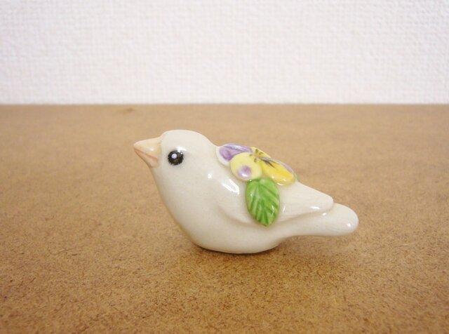 【sale】白ジュウシマツ 花小鳥/小(陶)の画像1枚目