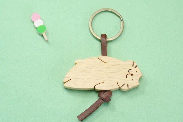 ぷにぷにネコ / 猫 木のキーリングの画像1枚目