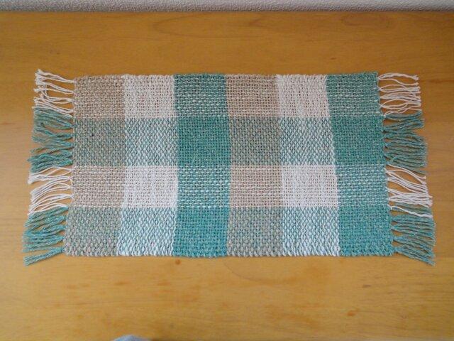 手織り 麻糸マット グリーン・2の画像1枚目