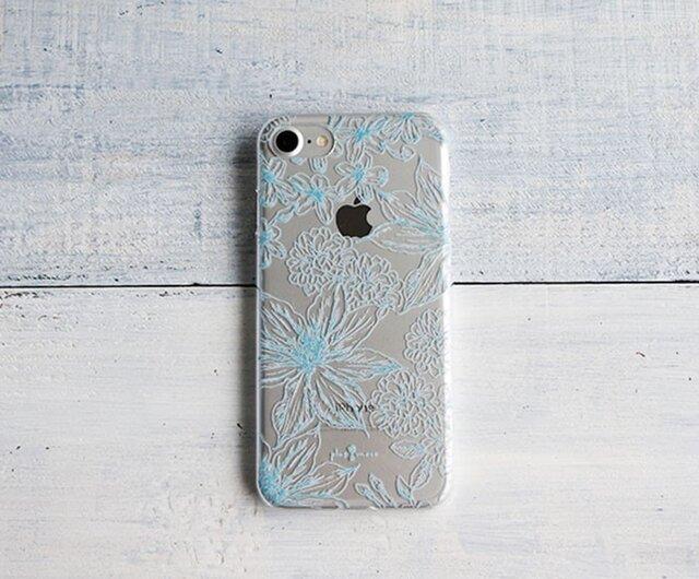 iPhoneクリアケース/ボタニカルフラワー柄ブルーラインの画像1枚目