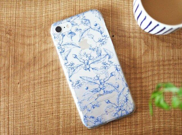iPhoneクリアケース/木の実柄ネイビーラインの画像1枚目