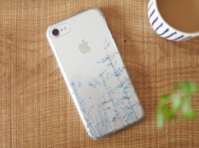 iPhoneクリアケース/緑草柄ディープグリーンラインの画像1枚目