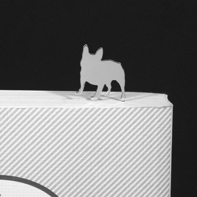 Dog-BookMark-30-h シルバーブックマーク しおり フレンチブルドッグ<受注制作>の画像1枚目