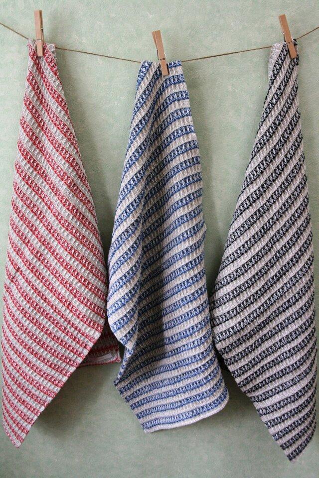 手織りワッフル織のタオルの画像1枚目