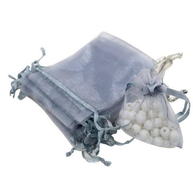 20枚入り オーガンジー巾着袋 【シルバー 銀色】 アクセサリーバック ラッピング 無地 シンプル ギフトの画像1枚目