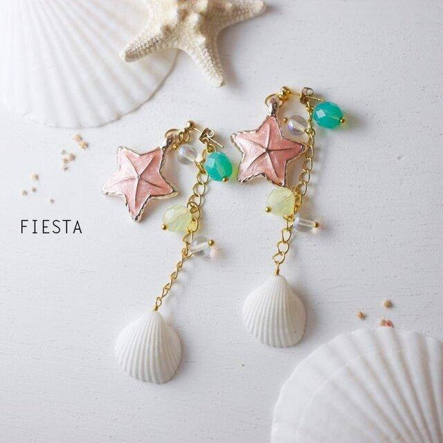 【予約販売】ピンクスターフィッシュと貝殻のサマーピアス(イヤリング可)の画像1枚目