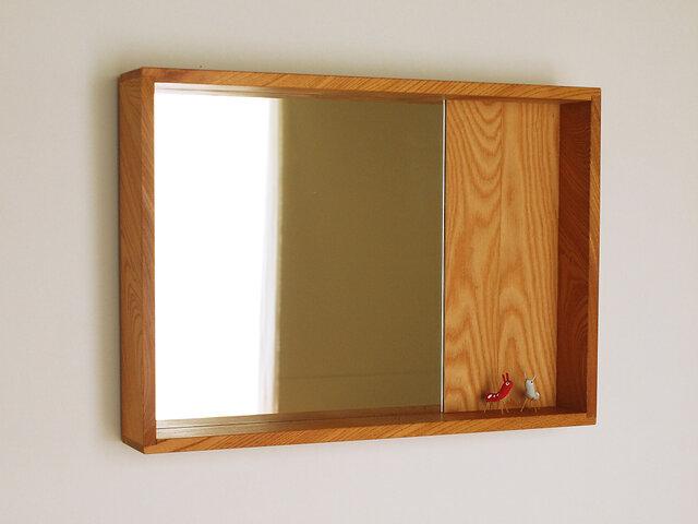 木製 箱鏡 欅(ケヤキ)材14の画像1枚目