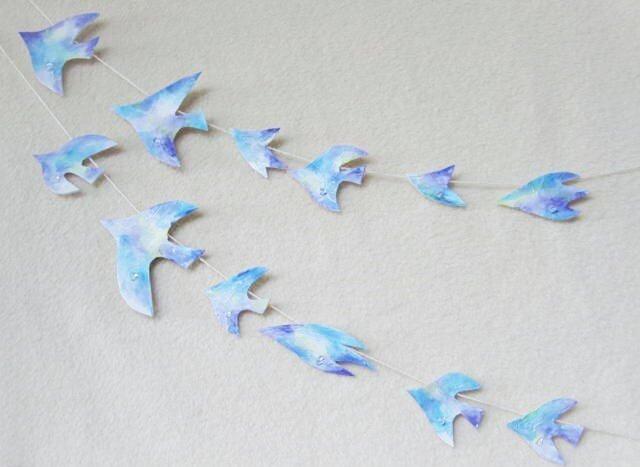 水晶と鳥のガーランドの画像1枚目