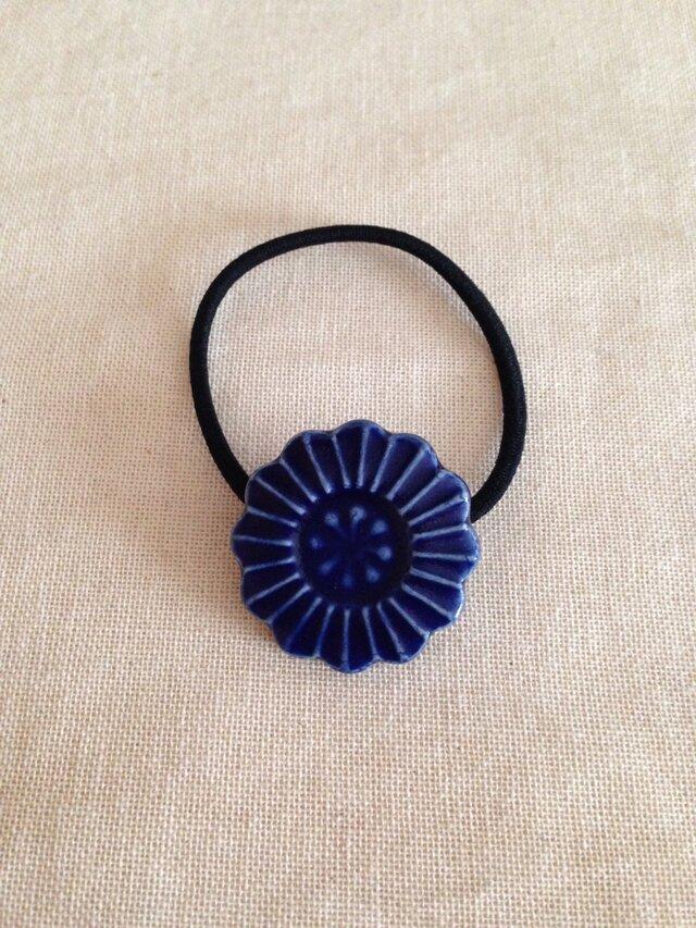 ヘアゴム(ブルー花)Dの画像1枚目