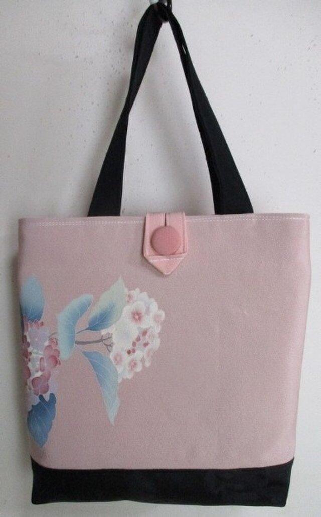 送料無料 紫陽花の描かれた訪問着で作った手提げ袋 2708の画像1枚目