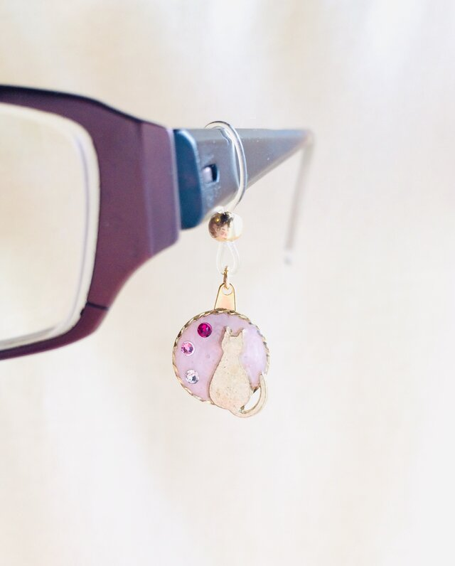 眼鏡チャーム 猫(ピンク)の画像1枚目