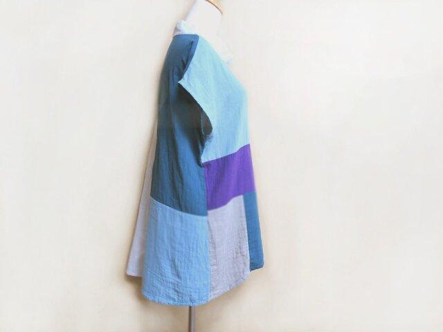 色つなぎガーゼトップス【夏のはじまり】フレンチ袖の画像1枚目