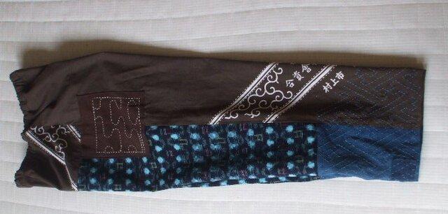 在庫処分 古布絣と大判風呂敷の刺し子パンツ 木綿の画像1枚目