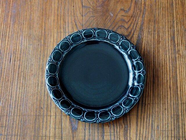 紺色釉 パン皿 (丸模様)の画像1枚目