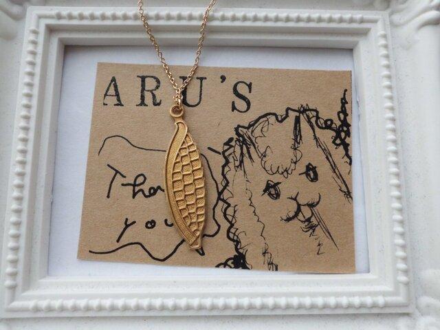 真鍮のスイカのネックレスの画像1枚目