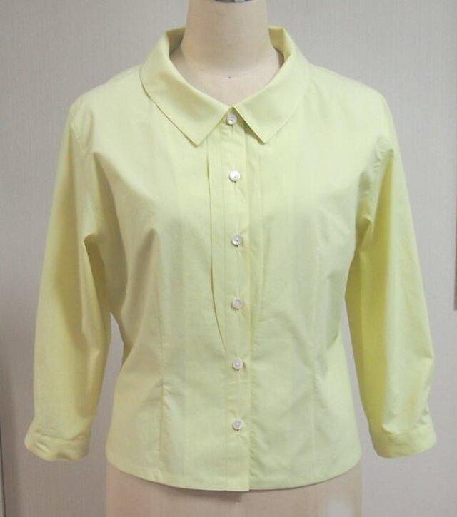 ショールカラーの衿付きブラウス(黄色)の画像1枚目