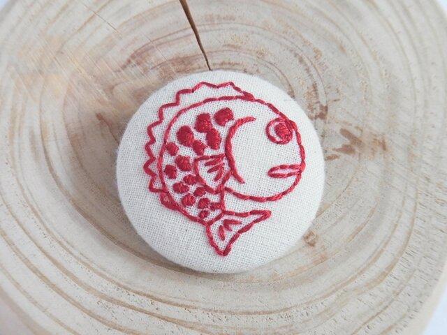 刺繍ブローチ めで鯛【赤】の画像1枚目