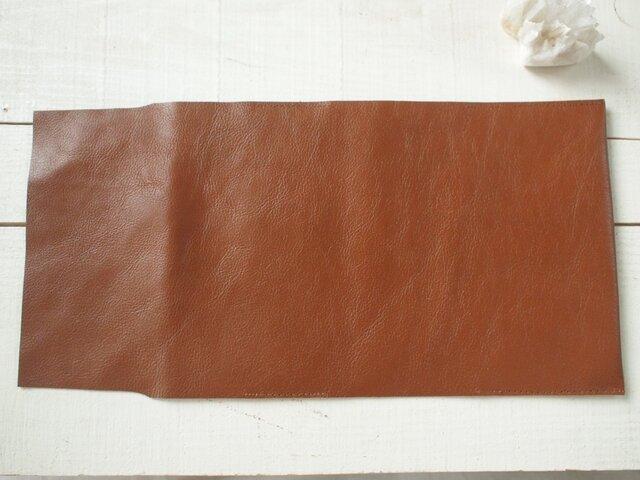 ふんわり本革 ブックカバー 茶糸の画像1枚目