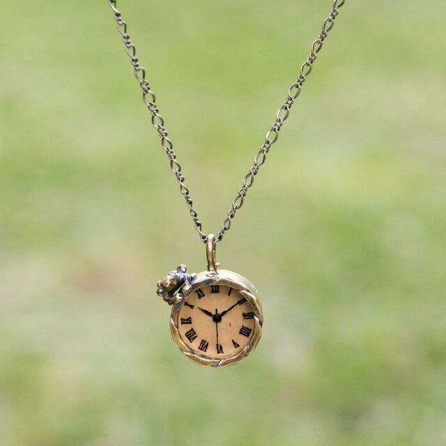 沼をのぞく蛙ネックレス時計Sチョコの画像1枚目