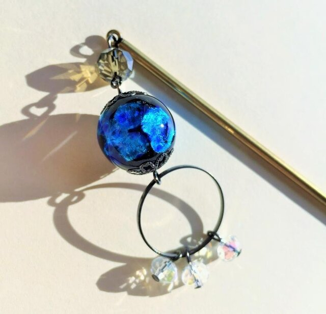 沖縄ほたる玉 ブルー 光る かんざし 髪飾り 14.5cm ガラス ビーズ 送料無料の画像1枚目