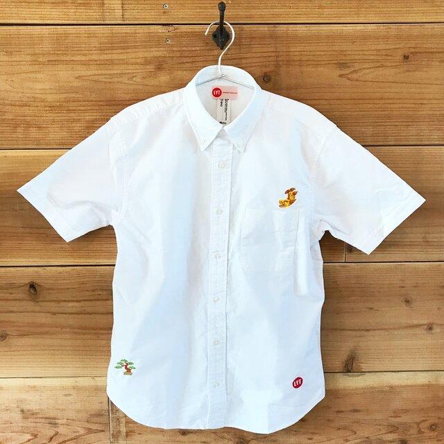 金鯱&盆栽 刺繍 ボタンダウン 半袖OXホワイトシャツの画像1枚目