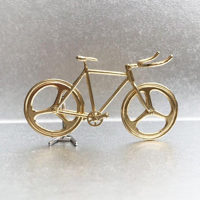 自転車ペンダント ブルホーンハンドル - Goldの画像1枚目