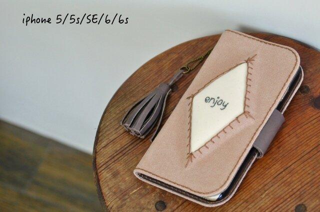 iPhone5,5s,SE,6,6s,7 アンティークピーチ 名入れ可 帆布×レザー ぷっくり手帳型ケースの画像1枚目