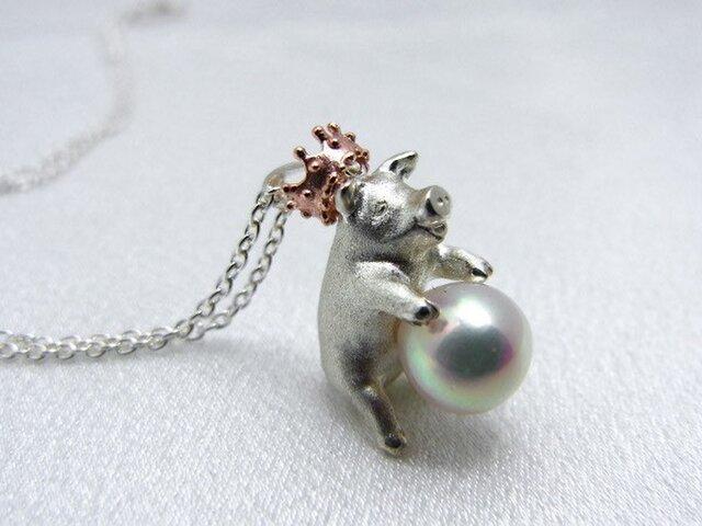 【受注制作】豚に真珠ネックレスの画像1枚目