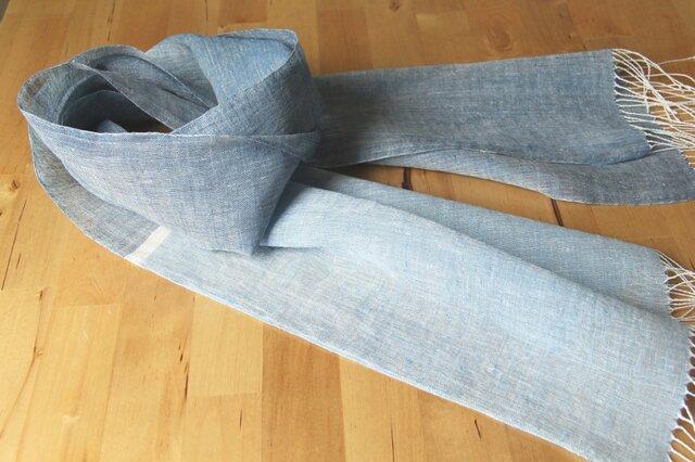 手織りリネンストール 藍の画像1枚目