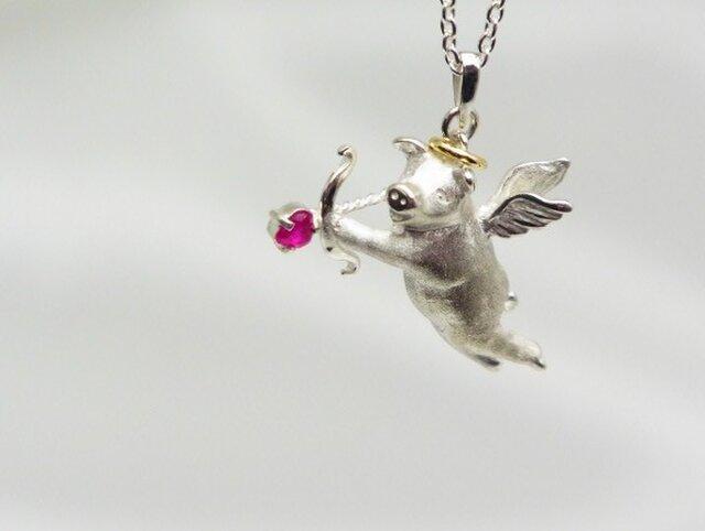 【Cupig】豚のキューピット ネックレスの画像1枚目