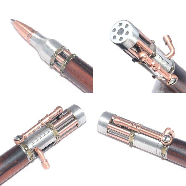 【受注製作】ボルトアクションの手作り木製の回転式ボールペン(ココボロ;ピューター+銅のメッキ)(STEAM-APAC-CO)の画像1枚目